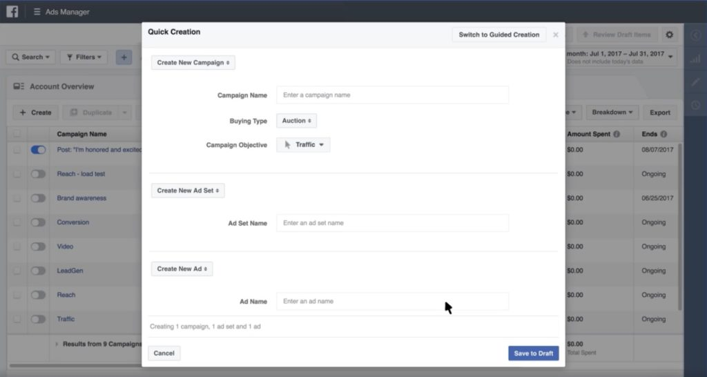 Facebook Ads Manager - Quick Creation