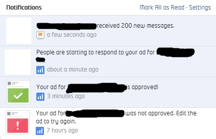 Facebook Ad was not approved and then approved after the adjustment.