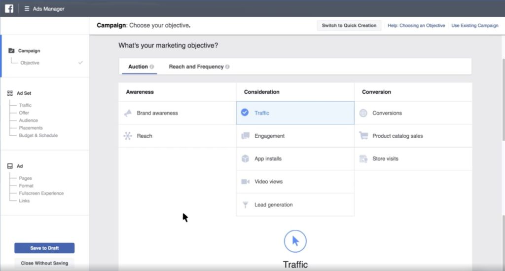 Facebook Ads Manager - Whats your marketing objective